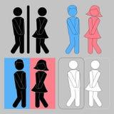 WC标志 男孩和女孩洗手间象 免版税库存图片