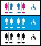 WC象、洗手间、休息室、男性和女性象 库存图片