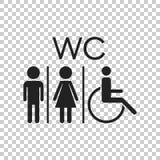 WC, ícone liso do vetor do toalete Sinal dos homens e das mulheres para o toalete sobre ilustração do vetor