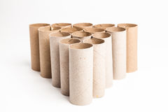 Wc cardboard tubes. A lot of wc paper tubes Royalty Free Stock Images