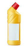 WC cleaner. Yellow plastic bottle of WC cleaner with blank label royalty free stock photos