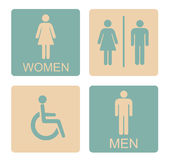 WC Icon Male Female Invalid. Sign Toilet And Restroom Retro Style Vector Flat Illustration Stock Royalty Free Stock Image