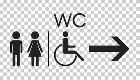 WC, icona piana di vettore della toilette Segno delle donne e degli uomini per la toilette sopra illustrazione di stock