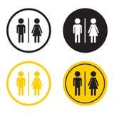 WC, icono plano del vector del retrete Muestra de los hombres y de las mujeres para el lavabo encendido stock de ilustración
