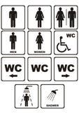 WC-Ikonen auf Weiß Lizenzfreies Stockbild
