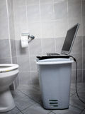 WC internet point. View of improvised internet point at the toilet royalty free stock image