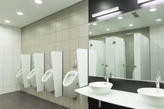 WC for men. Clean public men toilet room, wc Stock Image