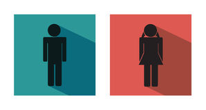 Wc modern flat icons. Wc or toilet modern flat icons - male and female icon. Vector eps format 10 is available Stock Photo