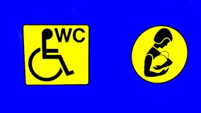 WC. public toilet. disabled. baby changing room. sign Stock Images