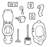 WC set. Hand drawn and sketched WC set Royalty Free Stock Photo