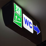 WC sign with arrow Royalty Free Stock Photo