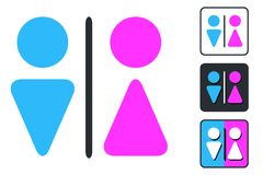Free WC Sign For Restroom. Toilet Door Plate Icons. Men And Women Vec Royalty Free Stock Image - 108313586