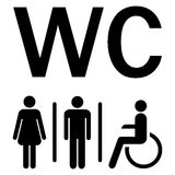 WC sign Men Women wheelchairs Stock Images