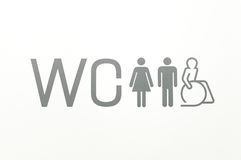 WC sign of public toilets Stock Image