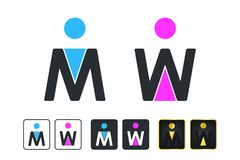 WC Sign for Restroom. Toilet Door Plate icons. Men and Women Vec Stock Image