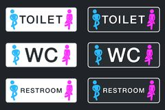 WC Sign for Restroom. Toilet Door Plate icons. Men and Women Vec Stock Images