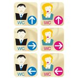 WC signs. Art illustrations of WC signs for men and women Stock Image