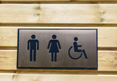 Wc signs. Bathroom signs for women,men and invalids royalty free stock photo