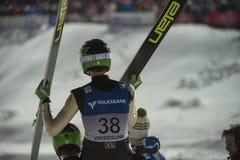 WC-Ski, der fliegt am 14. Februar 2015 Vikersund (Norwegen) (von der 2. Hälfte Lizenzfreie Stockfotos