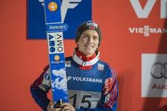 WC-Ski, der fliegt am 14. Februar 2015 Vikersund (Norwegen) (von der 2. Hälfte Lizenzfreies Stockfoto