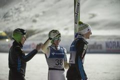 WC-ski die Vikersund (Noorwegen) vliegen 14 Februari 2015 (van de 2de helft Stock Foto
