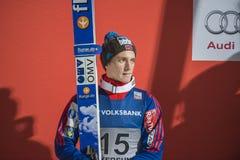 WC-ski die Vikersund (Noorwegen) vliegen 14 Februari 2015 (van de 2de helft Stock Foto's