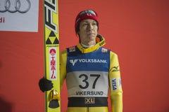 WC-ski die Vikersund (Noorwegen) vliegen 14 Februari 2015 (van de 2de helft Stock Afbeeldingen