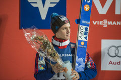 WC ski flying Vikersund (Norway) 14 February 2015 (from 2nd half. Second place of WC ski flying Vikersund (Norway) 14 February 2015 Anders FANNEMEL (Norway) Stock Photo