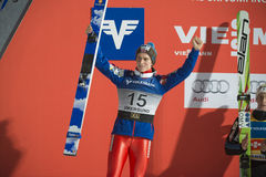 WC ski flying Vikersund (Norway) 14 February 2015 (from 2nd half. Second place of WC ski flying Vikersund (Norway) 14 February 2015 Anders FANNEMEL (Norway) Stock Images
