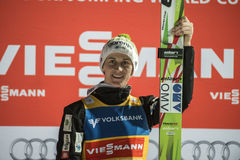 WC ski flying Vikersund (Norway) 14 February 2015 (from 2nd half. Winner of the WC ski flying Vikersund (Norway) 14 February 2015 Peter Prevc (Slovenia) jump 1 stock image