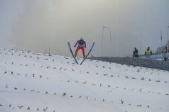 WC skidar flyga Vikersund (Norge) 14 Februari 2015 Royaltyfria Foton