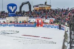 WC skidar flyga Vikersund (Norge) 14 Februari 2015 Royaltyfri Foto