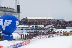 WC skidar flyga Vikersund (Norge) 14 Februari 2015 Arkivbild