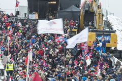 WC skidar flyga Vikersund (Norge) 14 Februari 2015 Arkivbilder