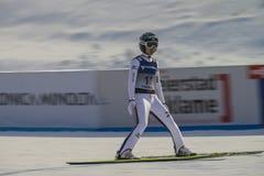 WC skidar flyga Vikersund (Norge) 14 Februari 2015 (från den 2nd halvan Arkivbild