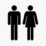 Wc symbols, restroom men and women signs. Toilet symbols, ladies and gentlemen icons, man and woman black silhouettes Stock Illustration