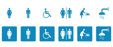 Wc- & toalettPictograms - Iconset stock illustrationer