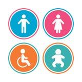 WC toalety ikony Ludzcy samiec lub kobiety znaki royalty ilustracja