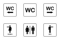 WC / Toilet door plate icon set. Stock Image