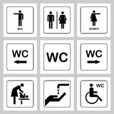 WC / Toilet door plate icons set. Men and women WC sign for restroom Royalty Free Stock Image
