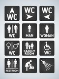 WC Toilet door plate icons set. Men and women WC sign for restroom. Bathroom plate. Royalty Free Stock Photography