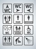 WC Toilet door plate icons set. Men and women WC sign for restroom. Bathroom plate. vector illustration
