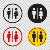 WC, toilet flat vector icon . Men and women sign for restroom on Stock Image