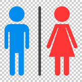 WC, toilet flat vector icon . Men and women sign for restroom on Royalty Free Stock Photography