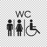 WC, toilet flat vector icon . Men and women sign for restroom on. Isolated background Stock Photography