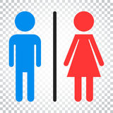 WC, toilet flat vector icon. Men and women sign for restroom on Royalty Free Stock Image