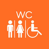 WC, toilet flat vector icon . Men and women sign for restroom on Stock Photos