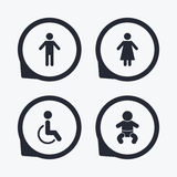 WC toilet icons. Human male or female signs. Royalty Free Stock Photos