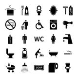 Wc toilet icons. Restroom and bathroom vector silhouette symbols. Set of washroom icon, foam and soap illustration royalty free illustration