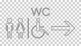 WC, toilet line vector icon . Men and women sign for restroom on Stock Photos